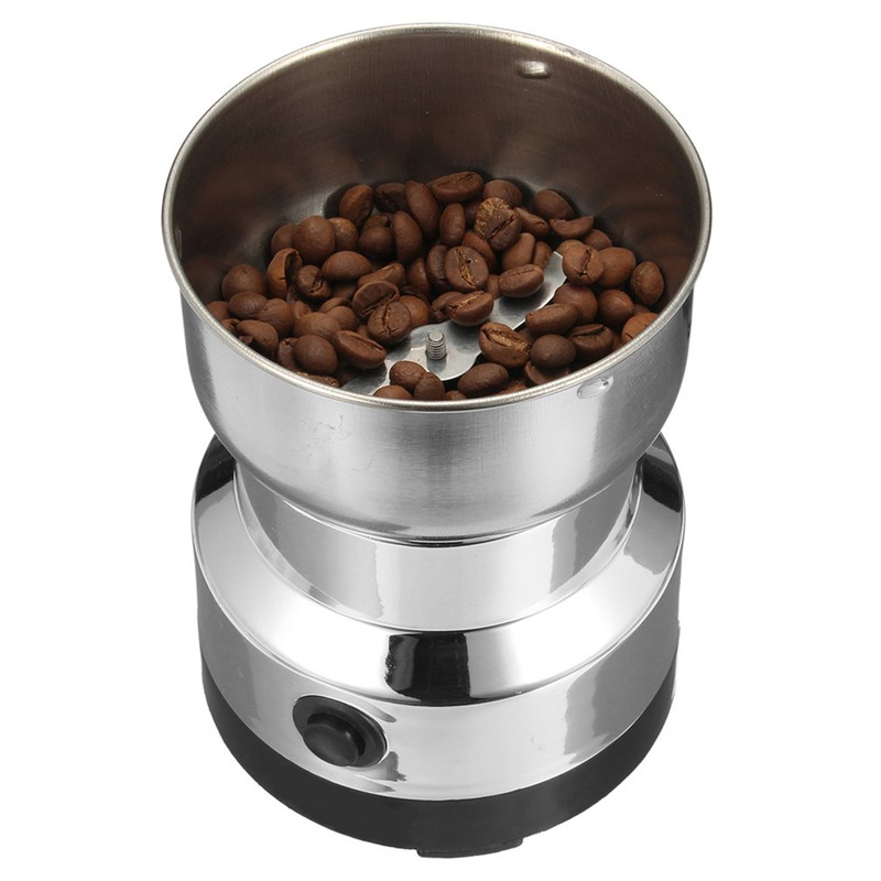 Electric Stainless Steel Coffee Bean Grinder Home Grinding Milling Machine 220V EU Plug Coffee Accessories Kitchenware 2pcs set stainless steel 90 degree self closing cabinet closet door hinges home roomfurniture hardware accessories supply