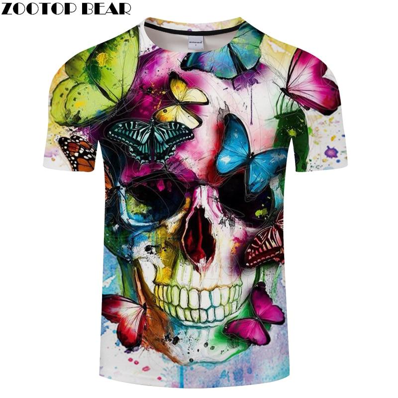 Butterfly&Skull 3D Print t shirt Men Women tshirts Summer Casual Short Sleeve O-neck Tops&Tees Streetwear Drop Ship ZOOTOP BEAR