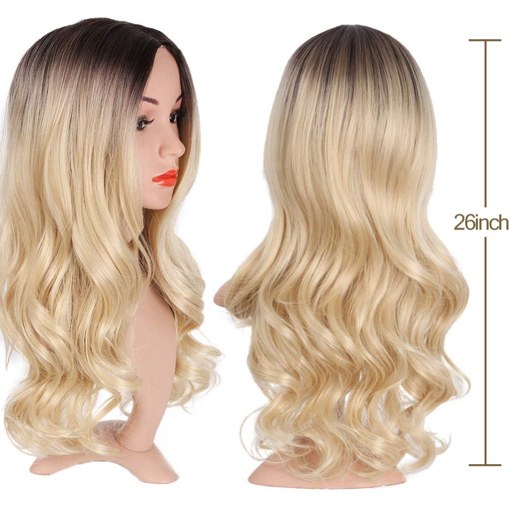 Pageup Middle Part Ombre Blond Wig For Women Heat Resistant Fiber Ladies Daily Cosplay Long Wavy Hair Curly Synthetic Blonde Wig (6)