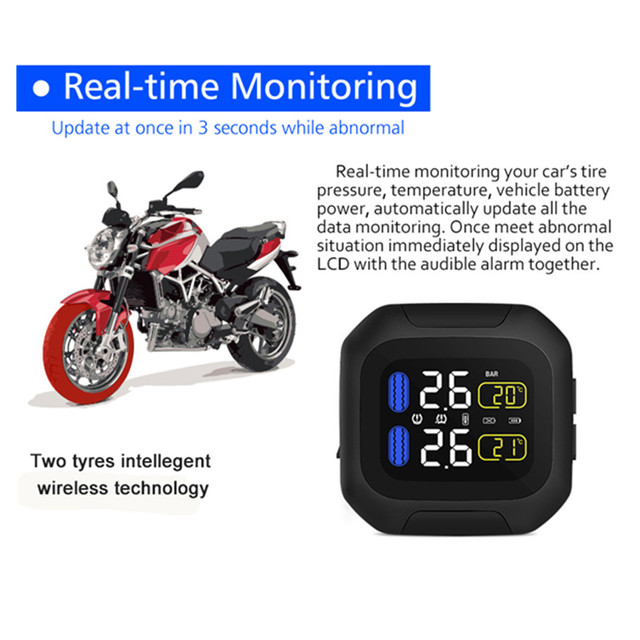 Wireless Motorcycle TPMS Tire Pressure Monitoring System