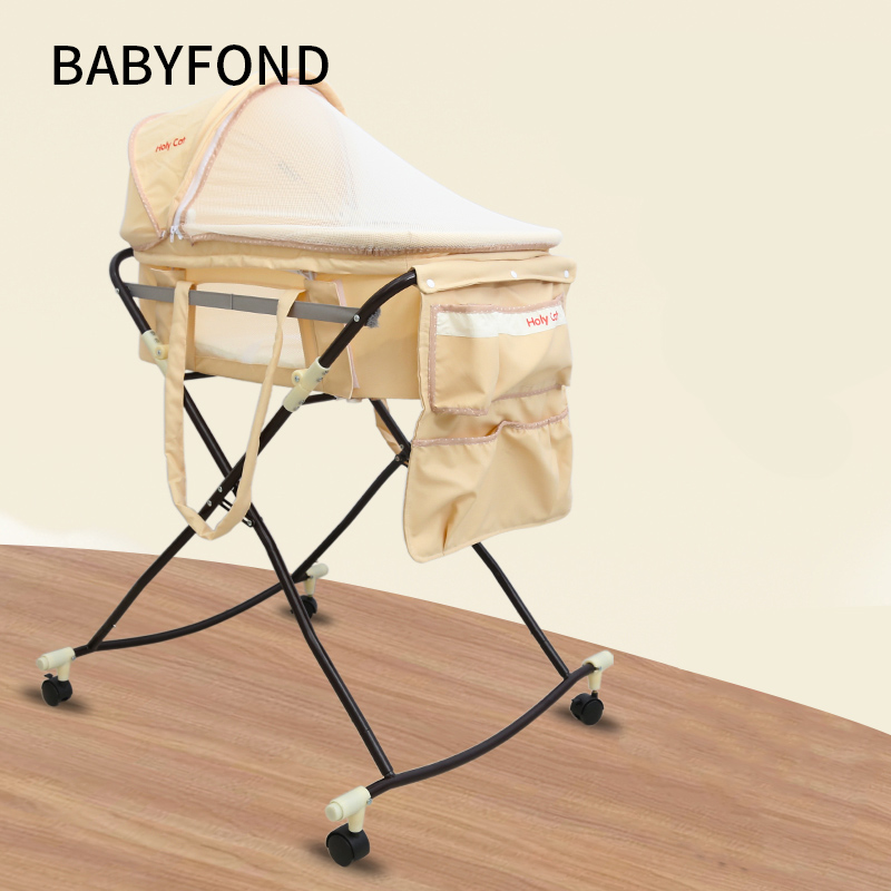Baby Cradle, Portable Car Safety Basket, Multi-function Coax Sleeping Basket With Mosquito Net, Discharge Cart.