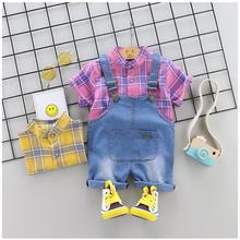 купить 2019 Summer Baby Girl Boy Clothing Sets Infant Toddler Clothes Suits Striped  T Shirt  Strap Shorts  Kid Child Clothes Suits по цене 537.98 рублей