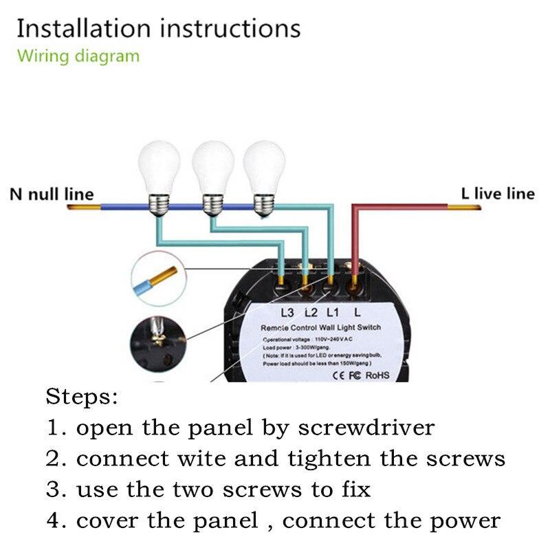FUNRY EU/UK Touch Wall LED Light Lamp Switch RF 433 Wireless Remote Control  Button Switch 2 gang 1 way For Smart Home ST1 EU 2R|lamp switch|funry  euswitch 2 way - AliExpressAliExpress