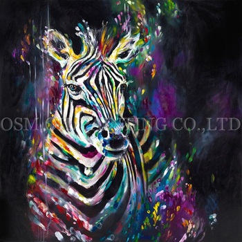 Excellent Artist Handmade High Quality Abstract Animal Zebra Oil Painting on Canvas Modern Colorful Zebra Oil Painting