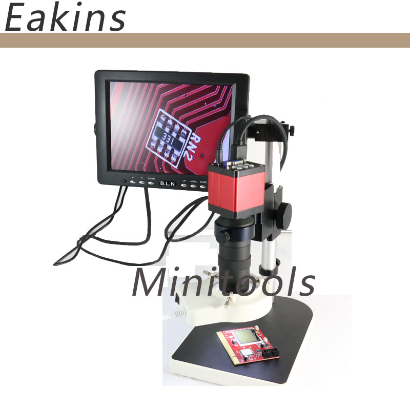 HMID VGA outputs Industry Microscope Camera+8X -130X Zoom C-mount Lens  +holder+56pcs Led +7 LCD Monitor  for Industry Lab PCB
