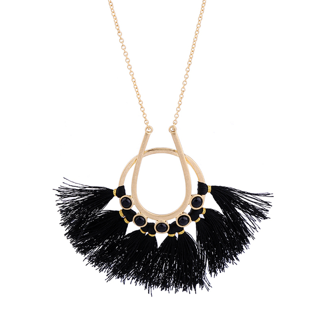 Ethnic style handmade black tassel necklace pendant online ethnic style handmade black tassel necklace pendant online shopping india fashion women long chain necklace mozeypictures Choice Image