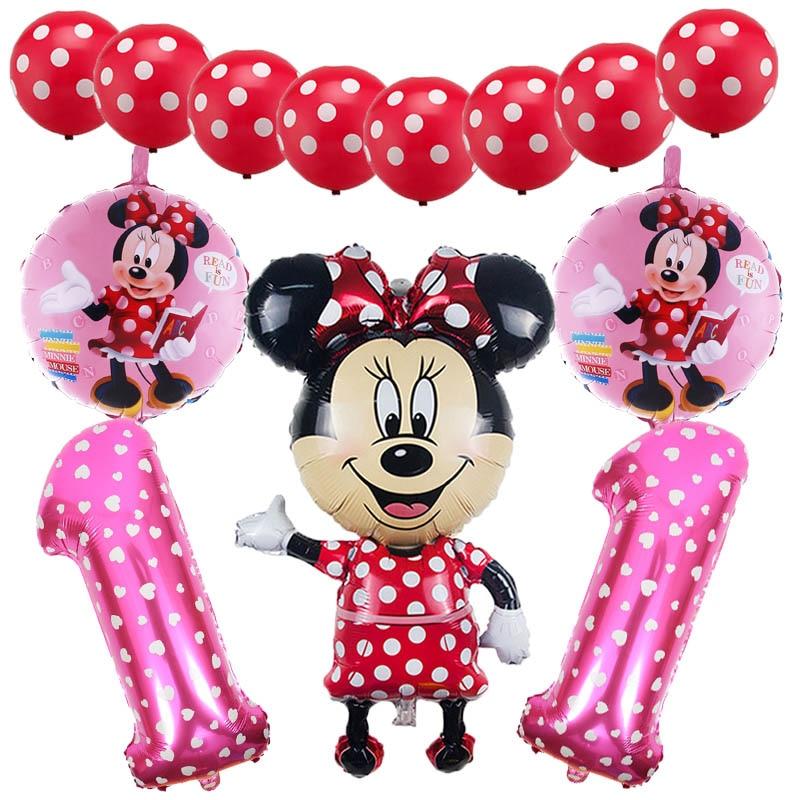 11 pcs Disney Minnie Mouse Birthday Foil Balloons Party Decorations Latex Set