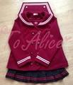 Women's JK Uniform Coat Wool Blend Trench Sakura Embroidery Wave Closure Sailor Collar Cute Outwear Lolita Navy/Wine