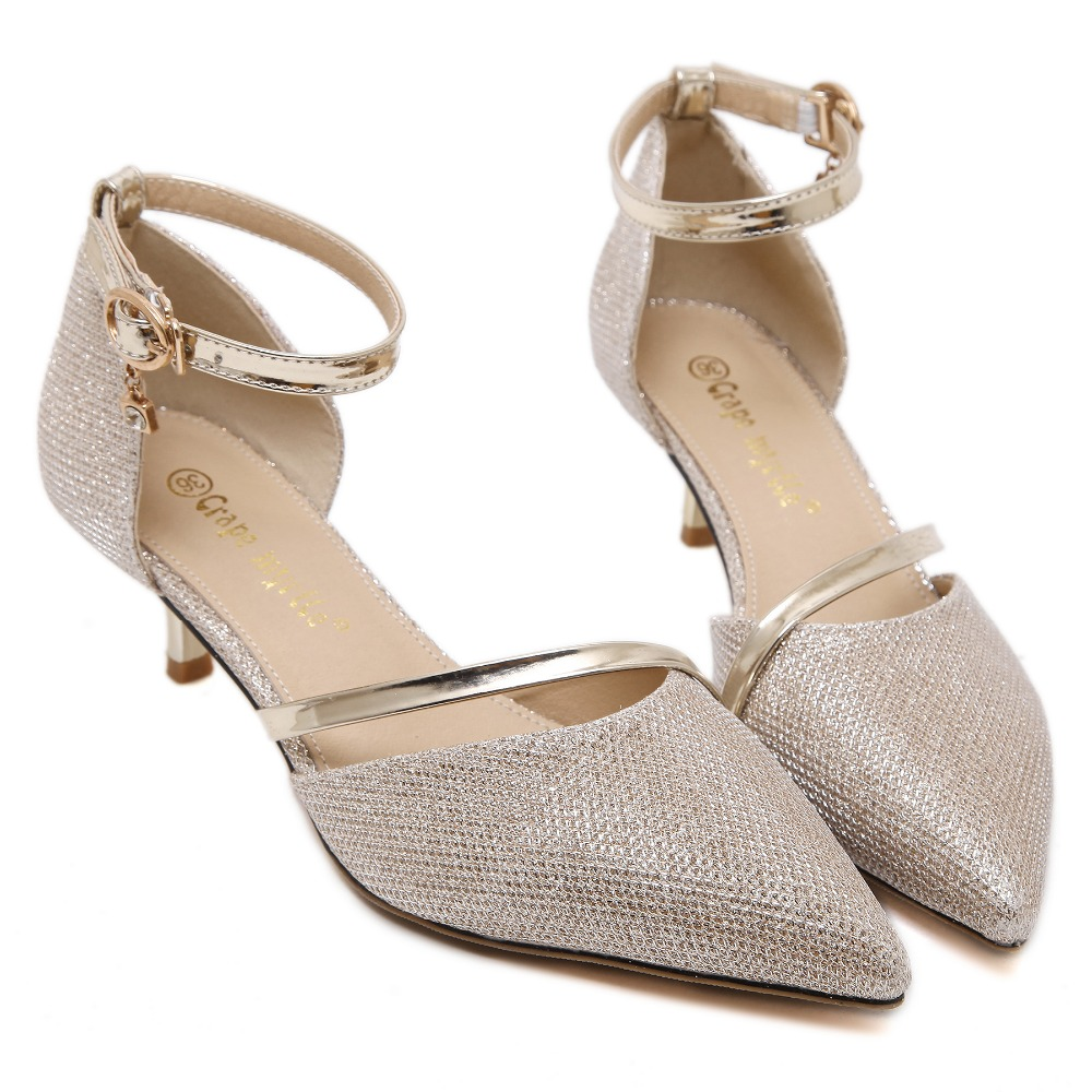 New Fashion 2017 Pointed Toe Pumps Women Silver Stilettos Heels Shoes Ankle  Tie Low Heel Pumps Gold Wedding Shoes Women In Womenu0027s Pumps From Shoes On  ...