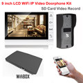 9 inch LCD Monitor 700TVL IR Camera Wireless WiFi IP Video Doorphone Intercom System Video Recording Support Android iPhone APP