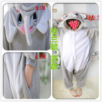 Cute Gray Elephant Pajamas Unisex Adult Christmas Party Unisex Sleepwear Hoodies Adults Costume For Halloween Carnival