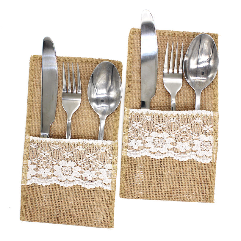 1PCS Vintage Jute Hessian Burlap Linen Lace Cutlery Pouch Rustic Wedding Decoration Party Birthday Tableware Supplies Holder Bag