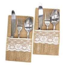 1 Uds. Bolsa para cubiertos de yute vintage arpillera de lino de encaje bolsa para cubiertos decoración rústica de la boda fiesta de cumpleaños suministros de vajilla bolsa de soporte