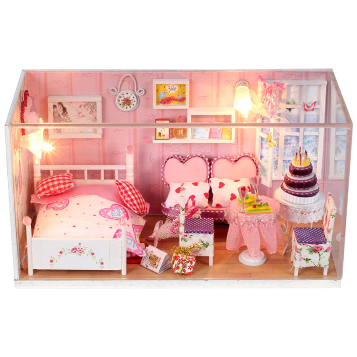 Kids Toys Pink House Miniature DIY Dollhouse Furniture Wooden Doll Houses Miniature LED Lights Gift