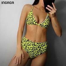 Купить с кэшбэком Sexy Bikini Set High Waist Swimwear Women Leopard Swimsuit Push Up Biquini Bathing Suits New 2019 Beachwear Brazilian Bikinis