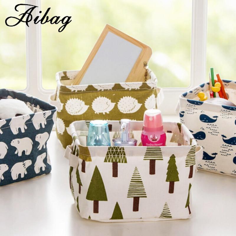 AIBAG Cartoon Travel Folding bag For Kids toy box Fashion Cotton Linen Desktop Waterproof Travel Portable Basket Makeup Bags