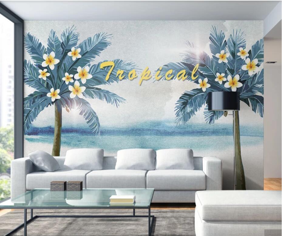 3D European Tropical Palm Tree Wallpaper Murals Bedroom Wall Mural Decals  Wall Art Wall Paper Contact Paper Sun Flower Scenery