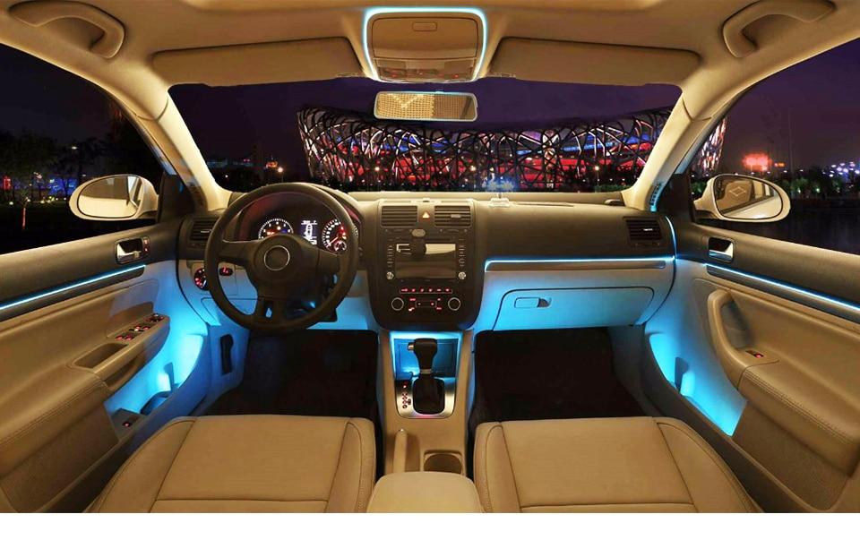 LED Car Styling Red color 1M 2M 3M 4M 5M Ambient Light Flexible Neon Strip led Car Interior Lights Trim El Cold Light 5V (1)