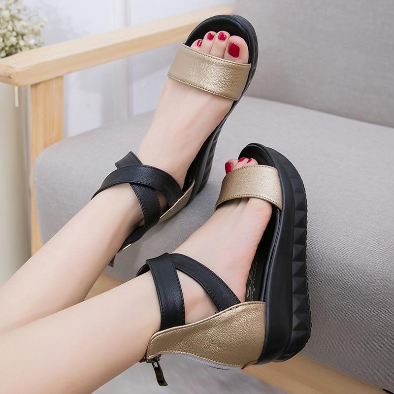 Фото Black Women Sandals Wedges Soft genuine Leather Open Toe Custom Shoes For Ladies High Heel Ladies Sandal 12 Made-to-order
