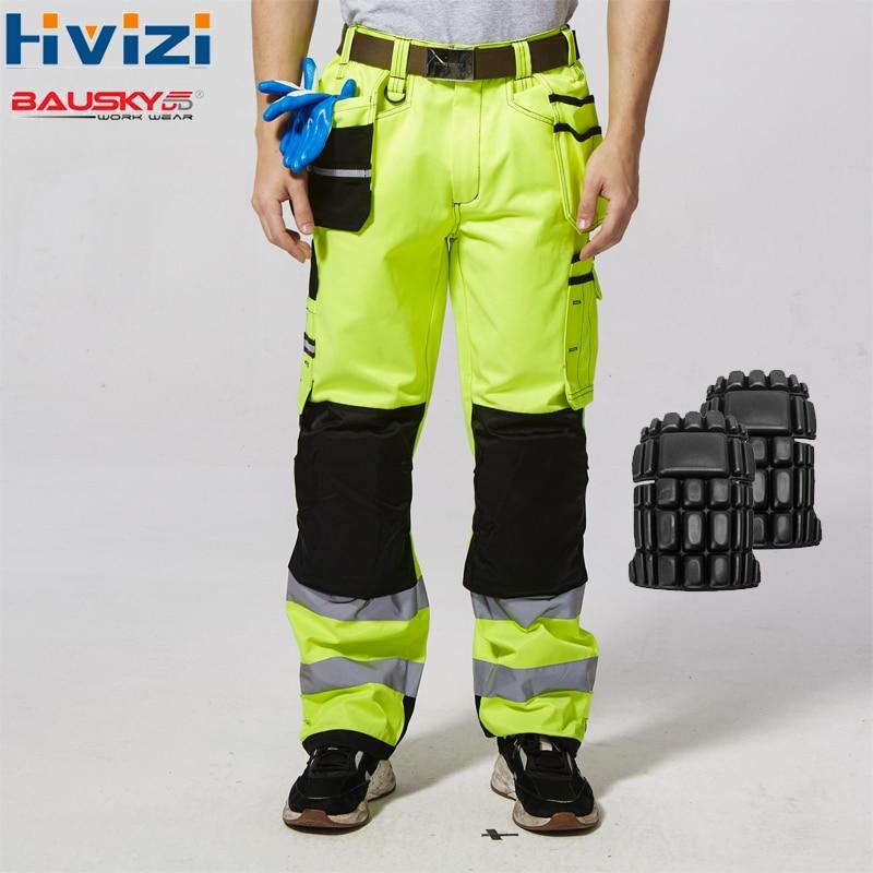 Oi Vis Amarelo Trabalho dos homens Calças Com Joelheiras Calças de Trabalho Homens de Segurança Refletivo Workwear Calças frete grátis B221