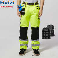 Men's Hi Vis Yellow Work Pants With Knee Pads Working Trousers Men Reflective Safety Workwear Pants free shipping B221