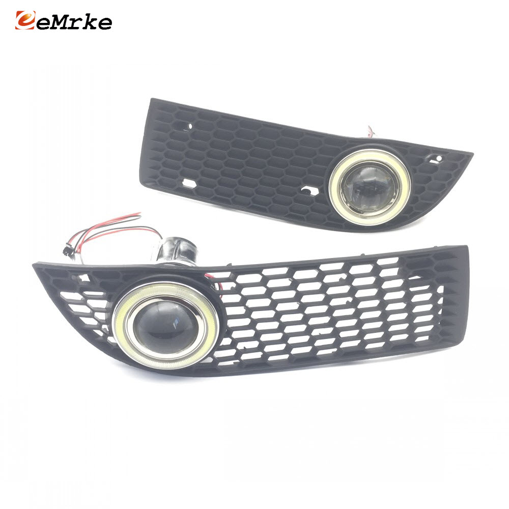 For Volkswagen <font><b>Jetta</b></font> City <font><b>2008</b></font> COB Angel Eyes DRL Yellow Signal Light H11 Halogen / Xenon E13 Fog Lights with Projector Lens image