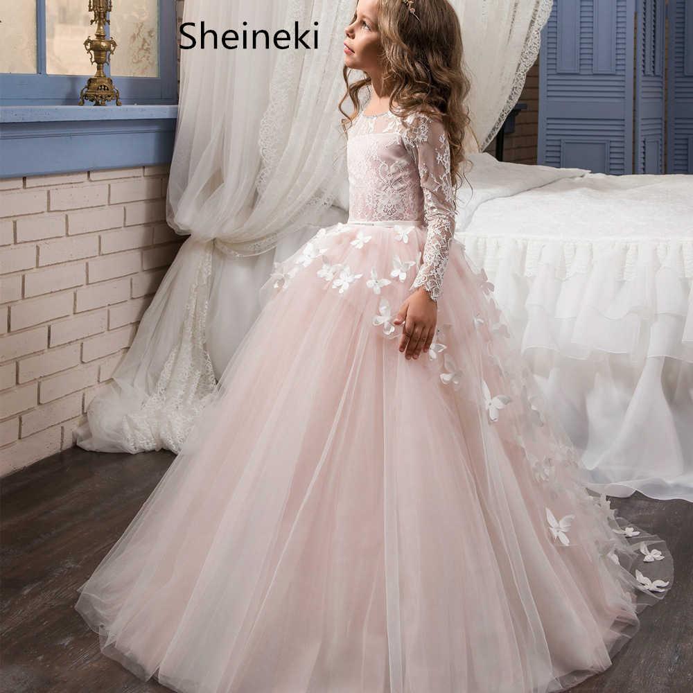 במלאי תחרת טול הוורודה כדור שמלת ילדה פרח שמלות הקודש מלא ארוכים שרוולי פרפר לחתונה שמלות vestido