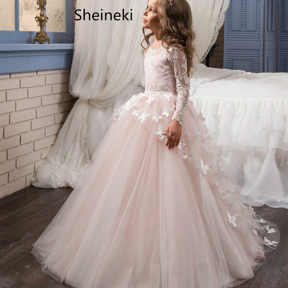 In Stock Lace Tulle Pink Ball Gown Flower Girl Dresses  For Wedding Full Long Sleeves Butterfly Communion Dresses Vestido