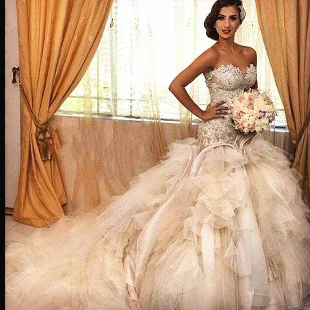 b5fd06920d3d 2015 Luxury Bride Dresses Corset Lace Beaded Princess Ball Gown Wedding  Dresses With Long Train For Wedding Party Fast Delivery