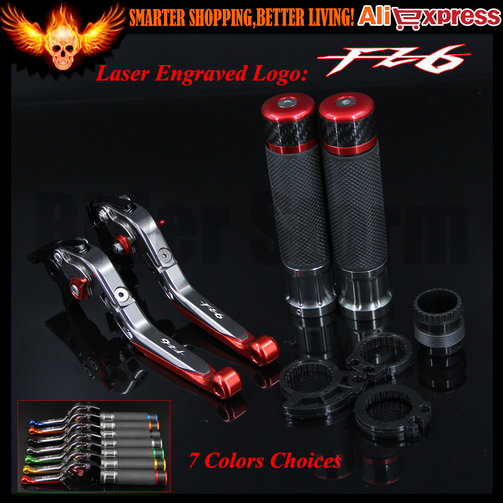 Red&Titanium CNC Motorcycle Brake Clutch Levers and Handlebar Hand Grips For Yamaha FZ6 FAZER 2004-2010 2005 2006 2007 2008 2009 cnc adjustable folding extendable motorcycle brake clutch levers for buell xb9 all models 2003 2004 2005 2006 2007 2008 2009