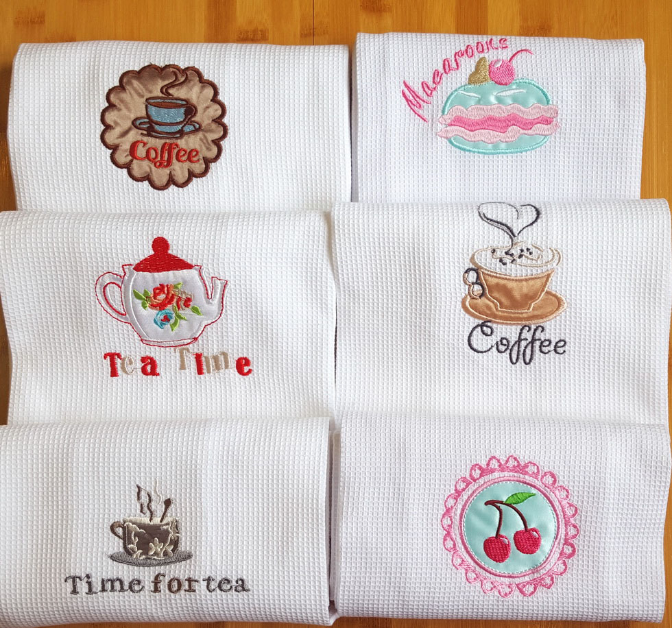 Junwell Cotton Waffle Embroidery Dishtowel Kitchen Towel