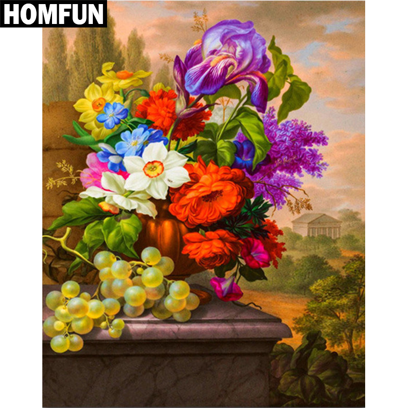 """HOMFUN Full Square/Round Drill 5D DIY Diamond Painting """"Colored flowers"""" Embroidery Cross Stitch 5D Home Decor Gift A06087"""