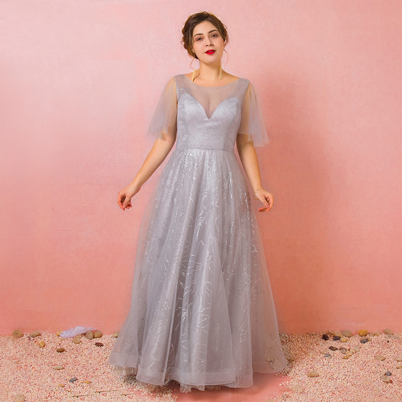 Plus Size Grey V-neck See Through Shiny Lace Vestidos De Festa Pleated   Bridesmaid     Dresses   With Sleeve Robe De Soiree Party Gowns