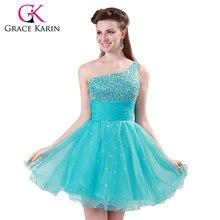 339ae69c6be6 Grazia Karin Popolare Breve Che Borda Il Sequin Una spalla Turchese Prom  Dresses Partito Dell abito di Sfera Vestito Da Ballo Di.