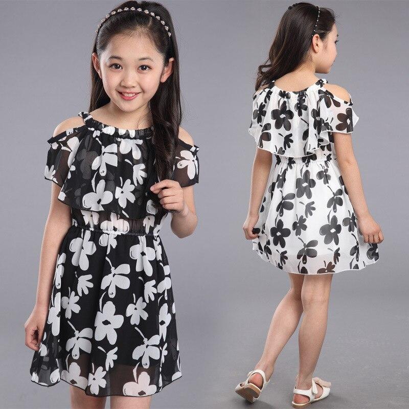 e366ae555b2 Платья для девочек-подростков 2019 летняя детская одежда детские Шифоновые  Платья с цветочным принтом вечерние платья принцессы для 6