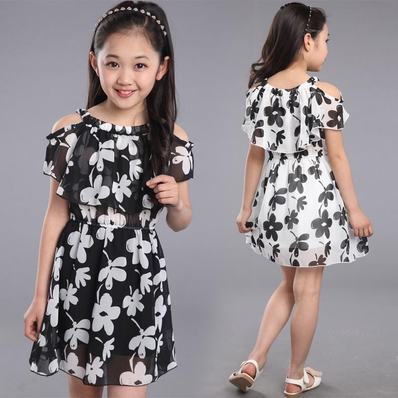 94e939ef5aca Vestido de niña adolescente verano 2019 ropa para niños vestidos de chifón  de flores para fiesta de princesa para 4 6 7 8 9 10 11 12 años