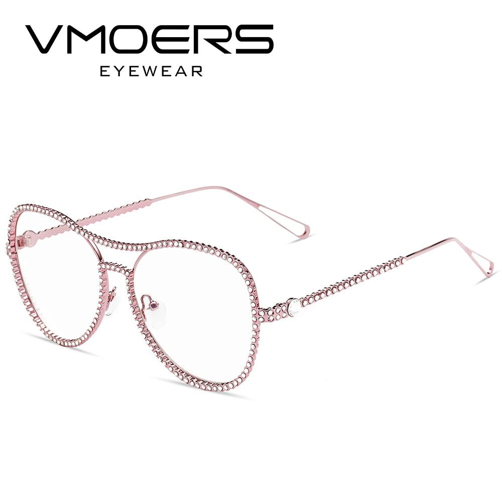 VMOERS Diamond Eyewear Frames Pink Transparent Clear