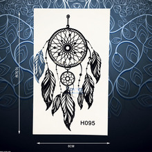 Hot Black Ink Dreamcatcher Tattoo Sticker Waterproof Body Art Dream Catcher Decals For Women Arm Back Fake Tattoo Stickers PH095