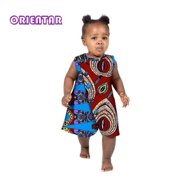 f3a9f6c30b6 Baby Girl African Dress African Print Floral Cotton Sleeveless Children  Dress Bazin Riche Africa Casual Midi Dresses WYT247