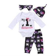3pcs Halloween Newborn Kids Infant Baby Girls Clothes Long Sleeve Romper Jumpsuit Floral Pants Outfit Set new arrival easter baby girls long sleeve cotton floral ruffle boutique romper tutu pink clothes bunny kids wear match bow kids