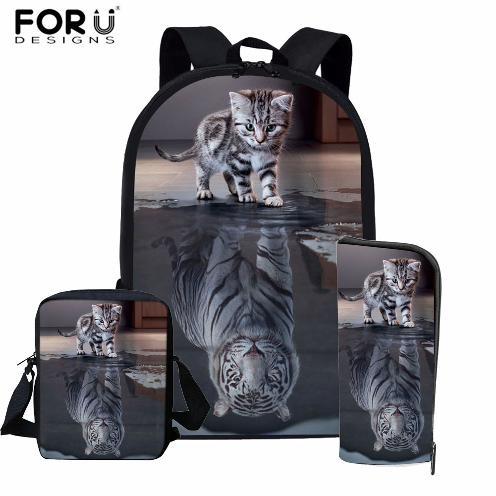 FORUDESIGNS 3D Cat Reflection Tiger Prints School Bag Set For Boys Girls Funny Animal Kids Backpack Primary Student Schoolbag