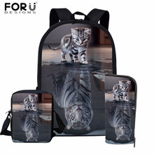 FORUDESIGNS 3D Cat Reflection Tiger Prints School Bag Set for Boys Girls Funny Animal Kids Backpack Primary Student Schoolbag 16 inch animal 3d backpack boy kids student large school bag bad dog cat dinosaur lion tiger horse panda printing mochila
