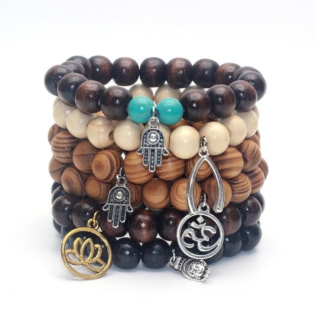 b56329c239b2 12 MM Perlas Inspirados Yoga Mala Pulsera de Buda De Madera De Bambú Mano  de Hamsa
