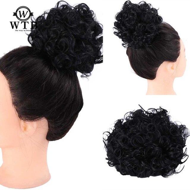 WTB Afro Puff Cordón de cola de caballo sintético rizado Chignon pelo bollo negro mujeres Chignon Updo cubierta extensión del pelo