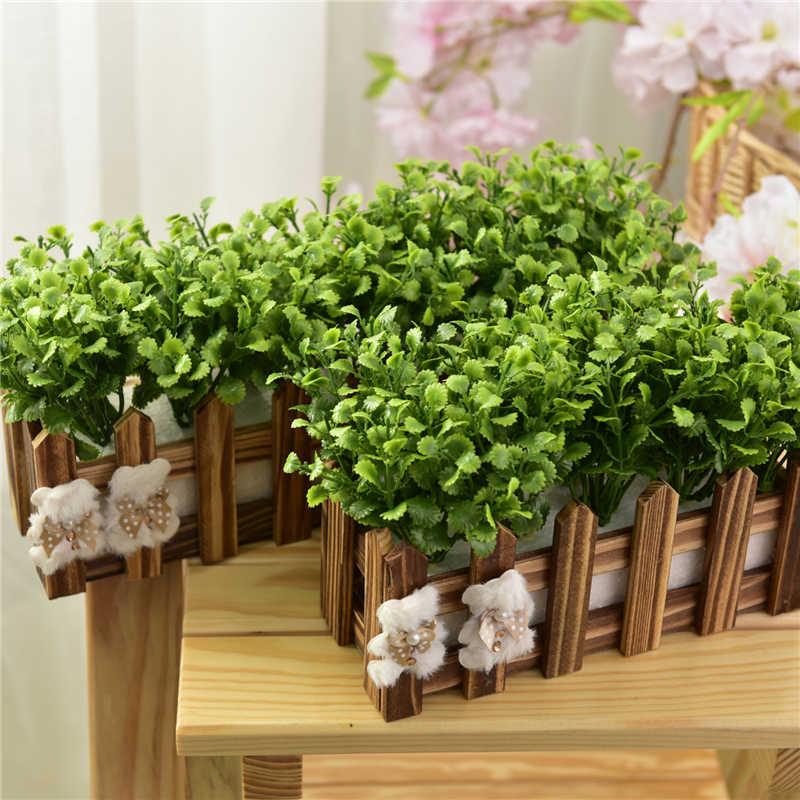 Palsu Vas Bunga Buatan Sutra Bunga Kecil Pot Tanaman dengan Pagar Kayu Rumah Dekorasi Pernikahan Ruang Tamu Dekoratif
