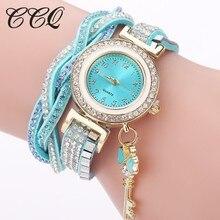 2017 New Popular CCQ Brand Delicacy Women Bracelet Watch Classic Ladies Luxury Crystal Key Pendant Noble Watch Clock Hot Selling