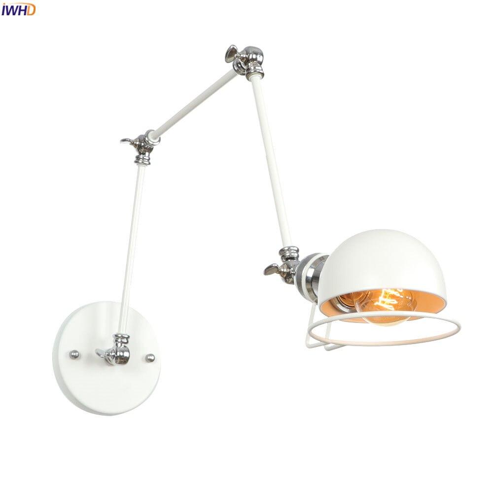 IWHD 3 Arms Adjustable Loft Vintage Wall Lamp Bedroom Bathroom Mirror Stair Light Industrial Retro Wall Lights Sconce LED Edison
