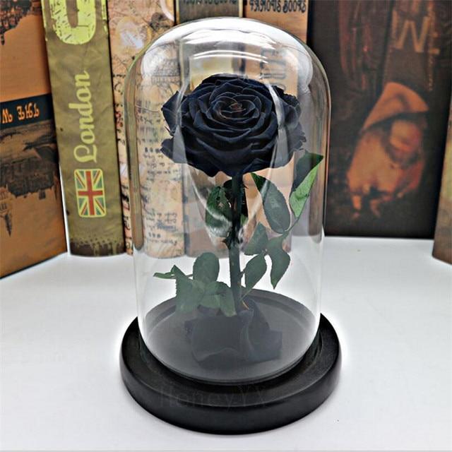 Black Forever Rose Flower Preserved Immortal Fresh Rose In Glass Vase Cloche Wedding Decorations