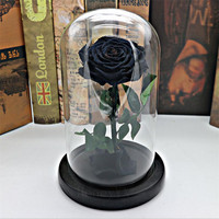 Black Forever Rose Flower Preserved Immortal Fresh Rose In Glass Vase Cloche Wedding Decorations Unique Gifts