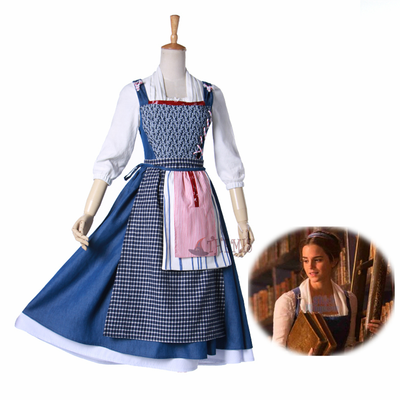 new Beauty and The Beast Belle Cosplay Costume Halloween Party Princess Dress  cosplay Adult style custom made